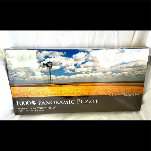"""""""Windmill in Wheat Field"""" Panoramic Puzzle NEW"""